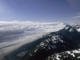 Aerial View over Alaska's Mountains and a Glacier