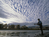 Fly Fisherman Casts for Trout in the Yellowstone River