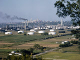 Panoramic View of Tulsa with an Oil Refinery in the Foreground
