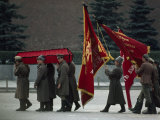 Symbolic Parade in Red Square with Flags and Red-Draped Coffin