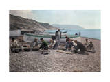 On the Beach of Bordighera  Fishermen Gather Supplies for Work