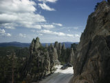 Cars Park in Overlook Beside Rock Formations Lining Needles Highway