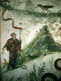 Bacchus  Roman God of Wine  Stands before Vesuvius in Ancient Fresco