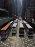 Double Decker Buses in the Streets of Central  Hong Kong