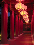 Chinese Lanterns Line a Traditional Building in Chinese Gardens