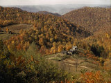 Scenic View of Farms Settled in a West Virginia Hillside Forest