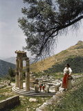 Three Restored Doric Columns Stand at the Ancient Greek Tholos