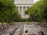 Marine Soldier Salutes the Rolling Thunder Parade on Memorial Day