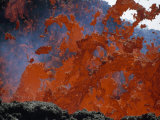 Fiery Lava Splashes Down Mount Etna