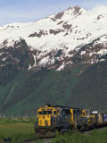 Alaska Railroad Engine and the Chugach Mountains