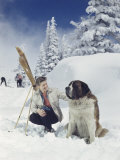 Skier in the Snow Pets a Hotel's Mascot  a Furry Saint Bernard Dog