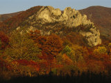 Seneca Rocks 900-Feet-High  with Trees in Autumn Hues