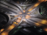 Aerial View of an Interstate Interchange in Detroit at Night