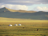 Steppeland Gers (Yurts) and Riders  Zavkhan  Mongolia