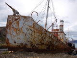 Rusting Old Whaling Ship  Derelict on a Beach
