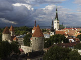 Medieval Town Walls and Spire of St Olavs Church  Tallinn  Estonia  Baltic States  Europe