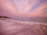 Sunset Creates a Pink Cast over the Surf in the South of France