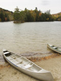 Canoes Parked on Shoreline of Emerald Lake in Autumn  Vermont