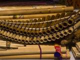 Bamboo Pan Flutes at an Outdoor Market
