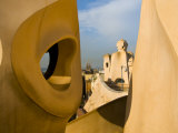 Chimneys Designed in Fantasic Shapes on Gaudi's Casa Mila Building
