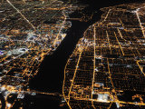 Detroit from the Air at Night  Views of Windsor  Ontario  Opposite