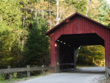 Stony Brook Red Covered Bridge and Hints of Fall Foilage  Vermont