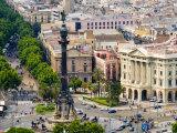 Barcelona with Tree-Lined Las Ramblas Avenue and Statue of Colon