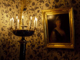 Electric Candelabra Illuminating a Portrait in a Museum