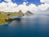 Aerial View of Gros Piton and Petite Piton  Icons of Saint Lucia