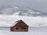 Red Barn in the Snow in Routt County  Colorado