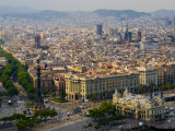 Barcelona with Tree-Lined Las Ramblas Avenue and Statue of Colon
