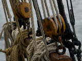 Close Up of Ropes and Pulleys of a Tall Ship