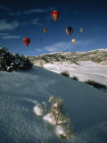 Hot Air Balloons on a Sunny Winter Day Bring More Color to a Blue Sky