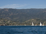 Sailboats on the Pacific Ocean in Front of Santa Barbara