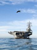 Pelican Flies Towards the US Ronald Reagan Aircraft Carrier