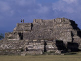 Tourists Stand on the Ruins of Monte Alban  a Zapotec Capital