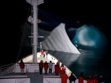 National Geographic Endeavour Cruises Past Icebergs at Night