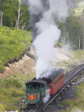 Steam Driven Cog Railway Train Puffs Up Mount Washington