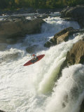 Whitewater Kayaker Drops Off a Waterfall at Great Falls