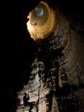 Cavers Rappelling the Entrance Drop of a 227-Foot-Deep Cave Pit