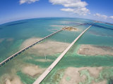 Aerial of Seven Mile Bridge at Extreme Spring Low Tide in the Keys
