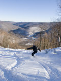 Man Snowboards Powder in the Backcountry of West Virginia