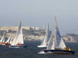 Sailboats Race in the San Francisco Bay with Alcatraz in Background