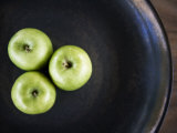 Bowl of Three Green Apples  Placed in Triangular Formation