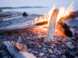 Campfire Burns on a Beach