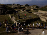 Tourists Walk Through the Ruins of Monte Alban  a Zapotec Capital