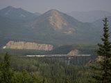 Alaska Railroad on a Tall Trestle Bridge