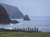 Moai Along the Coast of Easter Island at Ahu Tongariki