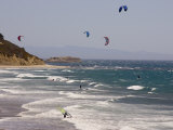 Kiteboarders and Windsurfers on a Windy Day at Waddell Creek