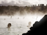 People Relaxing in the Blue Lagoon Geothermal Hot Springs
